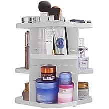 Becoyou Porta Cosmetici Rotante di 360 Gradi Scatola Organizza per Cosmetici e Gioielli Regolabile e Multi Funzione Grande Capacità Portante 5 Livelli Ideale per Riporre il Tonico le Creme i Pennelli i Rossetti e molto altro Colori Bianco