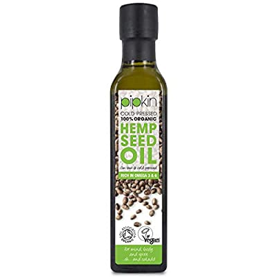 Pipkin 100% Organic Hemp Seed Oil 250ml, Cold Pressed Raw Unrefined Extra Virgin Dark Green Colour, Rich in Omega 3 6 9, Vegan and Vegetarian Friendly, Suitable for Dressings and Personal Care by pipkin