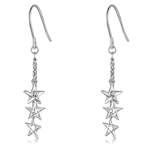 14ct 585 White Gold Diamond Cut Triple Star Drop Hook Earrings, Jewellery Gift for Women