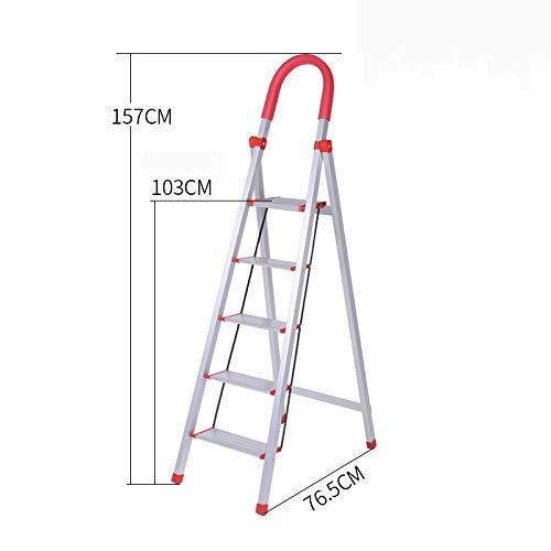 CLLCR Haushaltsleiter Aus Aluminiumlegierung, Dicke Leiter Mit Vier Oder Fünf Stufen, Klappbare Rolltreppe, Treppen, Multifunktions-Innenleiter,5,Einheitsgröße