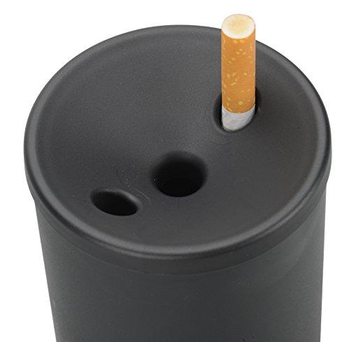 Smart Planet® Hochwertiger KFZ Aschenbecher Büro/Auto Ascher - mit Glutstopp - für z.B. Getränkehalter - aus Nicht brennbarem Material- Anti-Geruch und windsicher - Farbe: schwarz