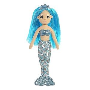 Aurora Sirena de Peluche de la colección Sea Shimmers Sapphire de la Marca World, Talla Mediana, Color Azul, melocotón y Plata