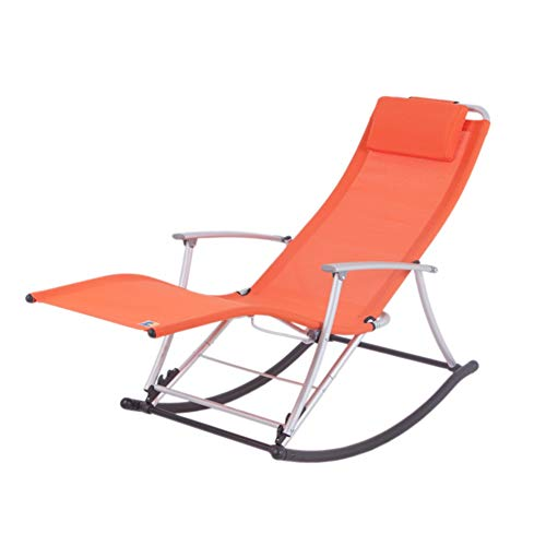 LIXIONG Schaukelstuhl Falten Lounge-Sessel All Wetter Sessel Mit/Abnehmbar Kissen Tragbar Sonne Liegen Terrasse Camping Strand, 7 Farbe (Color : Orange)