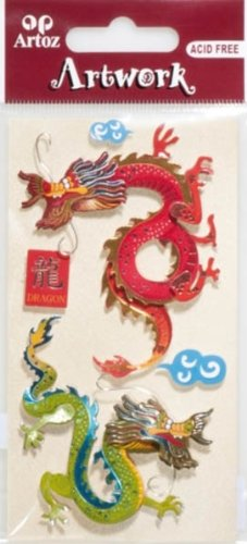 Artoz Artwork ' 3d con motivo Sticker 185600-91,' Drago NR 1, Handmade