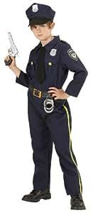 Widmann 76556 - Kinderkostüm Polizist, Hemd mit Schlips, Hose und Mütze, Größe 128
