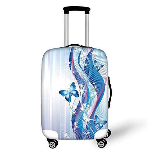 Travel Luggage Cover Suitcase Protector,Navy and Blush,Fantastic Abstract Composition with Waves Stripes and Magic Butterflies,Blue Pink White,for Travel