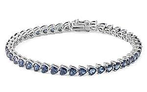 Petits Merveilles D'amour - Bracelet Tennis Femme - Argent Fin 925/1000 - Bleu Saphir Oxyde de Zirconium