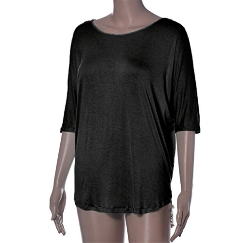CYBERRY.M T-shirt Été Casual Femme Manches Longues Dentelle Dos Loose Blouse Tee Noir