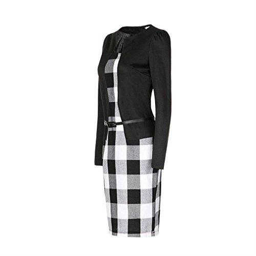 La Vogue Robe Genou Femme Tunique Modulant Crayon Manche Longue Bodycon Noir