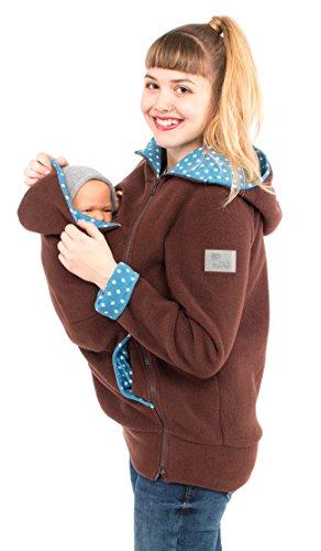 Viva la Mama I Tragejacke für Mama und Baby Kängurujacke Fleecejacke Umstandsmode Kapuzenjacke mit Tragefunktion AHOI braun-Sterne jeans - XL