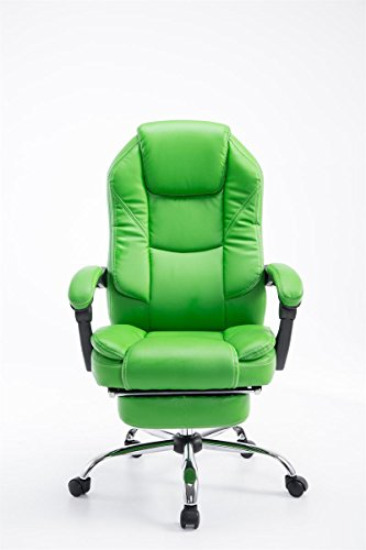 Bargain CLP Executive recliner chair with armrests CASTLE, foot support, height adjustable 47 – 57 cm, max. weight capacity 130 kg green Online