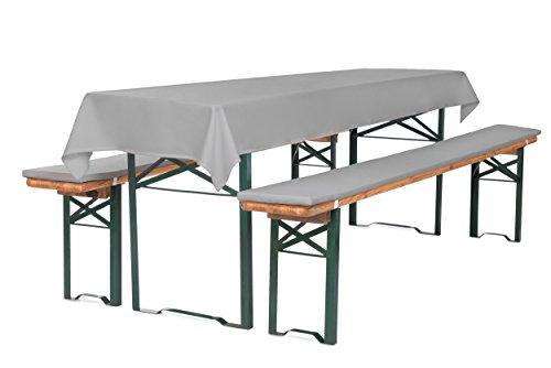 Auflagenset für Bierzeltgarnitur Bierbankauflagen 220 cm (Schaumstoff Extra Stark RG30/50) mit Tischdecke (100x250 cm) Grau