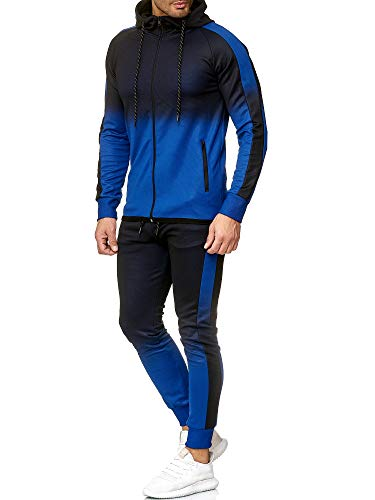 OneRedox | Herren Trainingsanzug | Jogginganzug | Sportanzug | Jogging Anzug | Hoodie-Sporthose | Jogging-Anzug | Trainings-Anzug | Jogging-Hose | Modell 1274 Blau