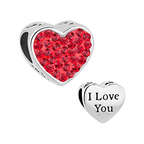 Uniqueen nuovo cuore i love you charms cristalli vendita compatibile con braccialetti pandora, base metal, colore: rosso, cod. dpc_my762