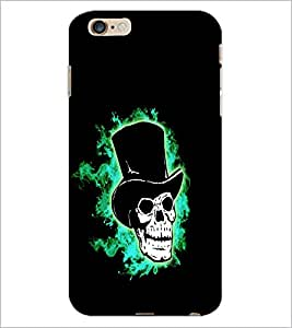 PrintDhaba Skull with Hat D-1199 Back Case Cover for APPLE IPHONE 6 PLUS (Multi-Coloured)