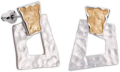 Perlkönig | Damen Frauen | Ohrringe Set | Ear Cuffs | Silber Gold Farben | Eckig | Stecker | Nickelfrei