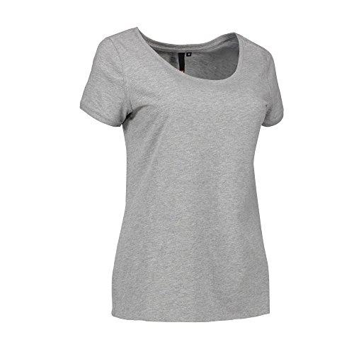 ID Damen Rundhals Freizeit T-Shirt Blau Meliert