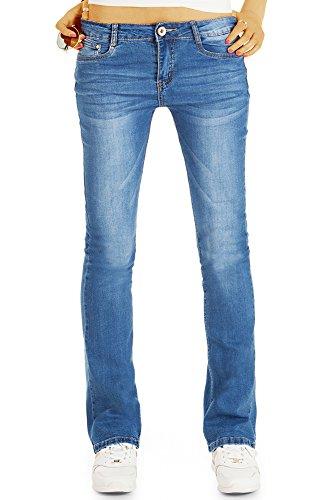 bestyledberlin Damen Boot-Cut Jeans, Schlagjeans Slim Fit, Ausgestellte Basic Jeans j53k 42/XL -