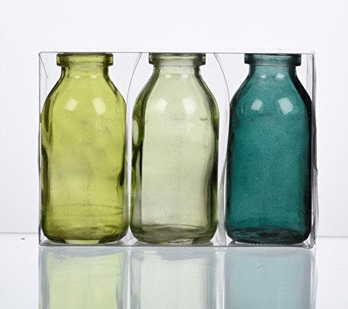 """SANDRA RICH. GLAS VASE \""""BOTTLE klein\"""". 3 kleine Flaschen ca 10,5 x 5 cm. Petrol - GRÜN. 1165-10-51"""