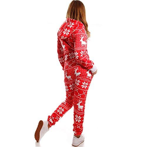 Crazy Age Kuscheliger Jumpsuit Sweat Overall Ganzkörperanzug mit Renntier- Eiskristalle Motive CA-J-603 Relaxen Chillen Rot /Weiß
