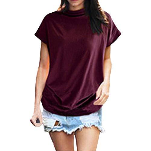 Qmber Ostern Sexy Oberteil Damen Frühling Sommer Elegante Langarmshirts Bluse Tunika T-Shirt Tops Ladies Off Shoulder Rib Tee Rollkragen Baumwollhemd grundiert Stehkragen/Rot,2XL
