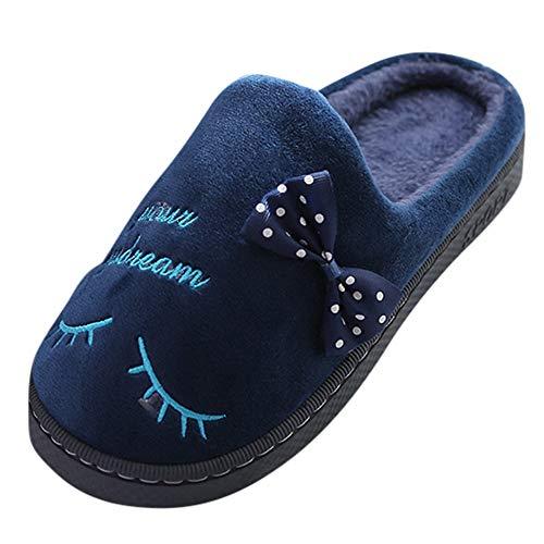 TianWlio Stiefel Frauen Herbst Winter Schuhe Stiefeletten Boots Warme Brief Plüsch Weiche Hausschuhe Drinnen Anti Rutsch Boden Schlafzimmer Schuhe Dunkelblau 36-37