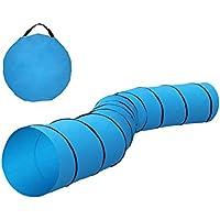 ECD Alemania Perros túnel–500x 60cm–Poliéster–Color Azul–con 8estaquillas y Bolsa–Parte túnel–Entrenamiento túnel–Agility túnel