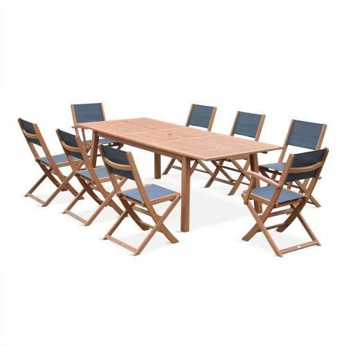 Salon de Jardin en Bois Extensible - Almeria - Table 180/240cm avec rallonge, 2 fauteuils et 6 chaises, en Bois d'Eucalyptus FSC huilé et textilène Gris Anthracite