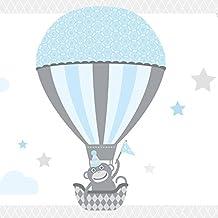 Anna pared–Cenefa autoadhesiva Hot Air Globos–Cenefa para pared infantil/bebé habitaciones con animales en globos de aire caliente Varios. Colores–Adhesivo de pared Dormitorio Niña & niño, pared decoración bebé/Niños