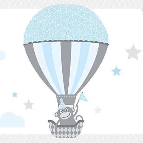 anna wand Bordüre selbstklebend HOT AIR BALLOONS - Wandbordüre Kinderzimmer / Babyzimmer mit Tieren in Heißluftballons in Hell-Blau /Grau –...