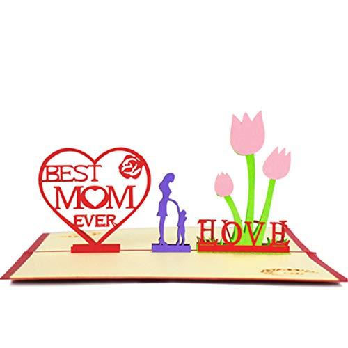 KANKOO 3D POP UP Muttertagskarte mit besonderen besten Wünschen Die Gruß-Geschenkkarte für Mutter, die ich Liebe Mama und einen Guten Umschlag