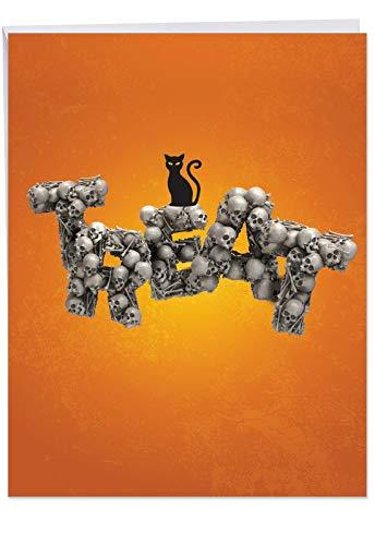 j6123fhwg Jumbo Ausgelassene Halloween Grußkarte: Halloween in Totenkopf Schriftart, das mit einem Bild von Fürchterlich Worte gebildet mit Knochen, mit Umschlag (groß Größe: 21,6x 27,9cm)