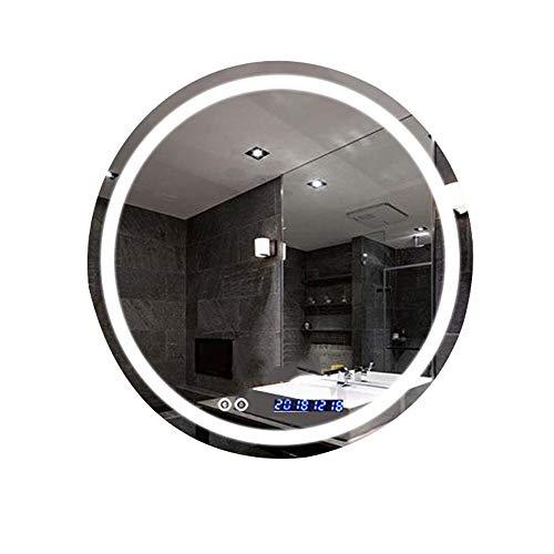 JHHXW Specchio da Bagno a LED Tondo a LED Specchio for Trucco Multifunzione antiappannamento Smart da Parete a Parete Senza Luce (Color : B, Size : 80cm)