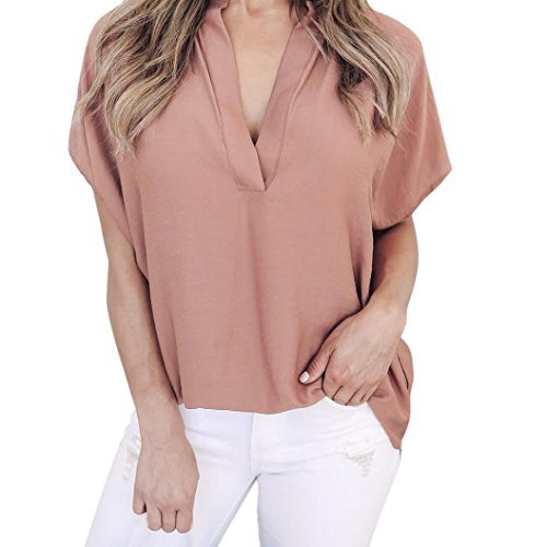SMILEQ Women Short Sleeve Blouse Ladies Summer Chiffon Casual Blouse V Neck T-Shirt