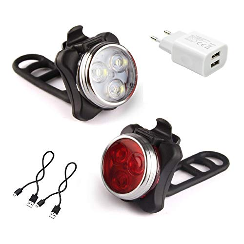 AMANKA LED Bicycle Lights, USB Bicycle Light Front and Rear Bicycle Lights Set 4 650mAh Mode Reflector Bike Safety Signal Beacon