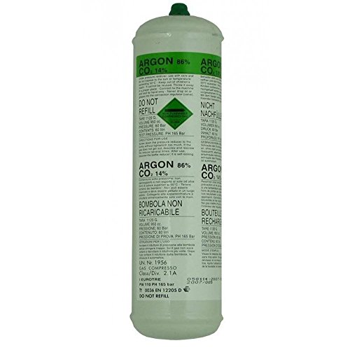 Argon CO2 Disposable Welder Gas Bottle 60 L Litre For Gas Gasless Mig 1368 Test