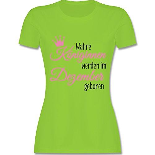 Shirtracer Geburtstag - Wahre Königinnen Werden IM Dezember Geboren - Damen  T-Shirt Rundhals Hellgrün