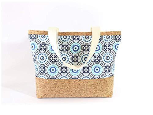 Braune Tasche aus Korkstoff mit blauem Mandala Muster - 5