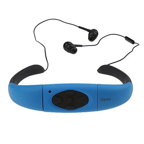 Bluetooth Kopfhörer Wasserdicht Schwimmen , elecfan Wireless Bluetooth Sport Kopfhörer IPX8 Wasserdicht Schwimmen Headset MP3 Player Unterwasser Bluetooth Neckband Kopfhörer Kompatibel mit Android IOS für Damen Herren Laufen Reiten Walking SPA Wassersport - Blau