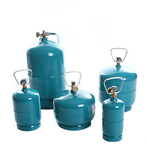 rg-vertrieb Leere befüllbare Gasflasche Propan Butan Camping Grill Gasbrenner Kochen Flasche wiederbefüllbar 0,5kg 1kg 2kg 3kg 5kg Umfüllschlauch Adapter wählbar (Gasflasche 1kg)