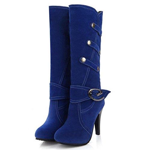 COOLCEPT Damen Hohe Heel stiefel Stylische mit Stiefel Blau