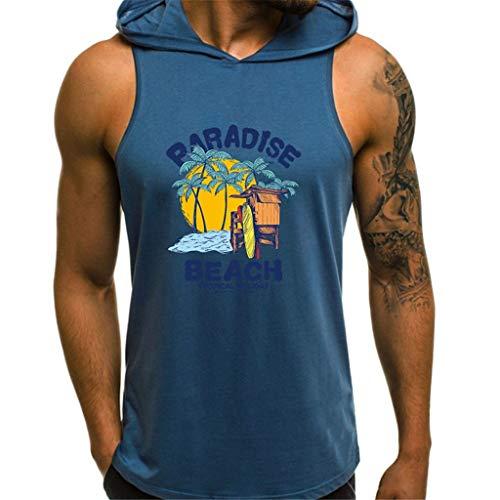 Herren Ärmelloser Kapuzenpullover T-Shirt mit Kapuze Tank-Top aus Baumwolle Pullover und T-Shirt S-XL Tops Männer Hoodie CICIYONER