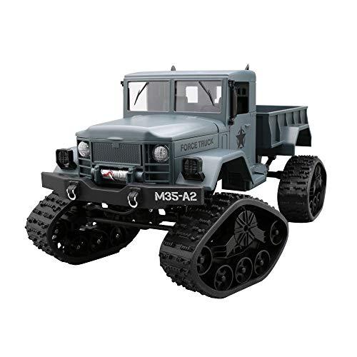 MMOOVV M35-A2 4WD 2.4G WiFi FPV LKW 720P Kamera RTR Fahrzeug Spur Offroad Wi-Fi Echtzeit-Übertragung Simulation Militärkarte Offroad-Modell Schneespur ferngesteuertes Auto (Blau)