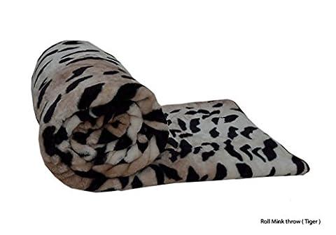 Londres. Parure de lit Imprimé peau de® Animal/motif Polaire Fausse fourrure Rouleau de Lancers de vison/lit couvertures, Tiger Skin Print, Double = (150 X 200 CM)