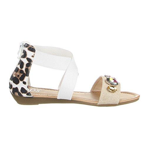 Damen Schuhe, 1078-PL, SANDALEN Weiß