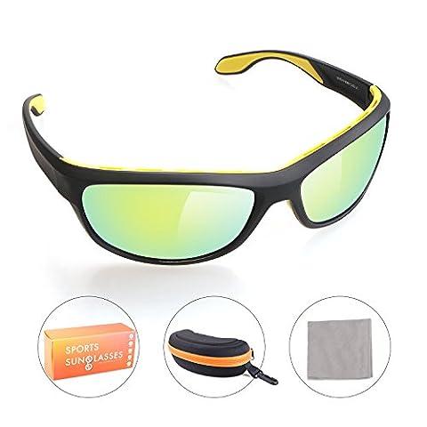 GlobaLink® Polarisierte Sport-Sonnenbrille, Unzerbrechlicher Rahmen TR90, voll Rahmen, Nano Anti-Fingerprint Objektiv, für Joggen Golf Surfen Bergsteigen