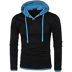 Sudadera con capucha hombres , Tefamore Otoño e invierno de los hombres de manga larga jersey sudadera con capucha,Capucha manga larga de (EU:M, Azul)
