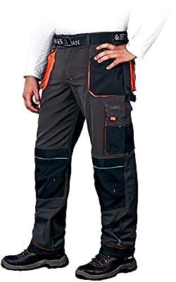 Leber&Hollman Arbeitshose für Herren - Sicherheitshose für Männer - mit Taschen für Kniepolster - Bundhose - Berufsbekleidung - Schwarz/Orange