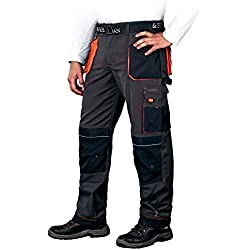 Leber&Hollman Pantalon de Travail Homme - avec Poches pour Genouillères - Pantalons de Sécurité Multipoche Professionnel - Cargo - Noir - Taille 54
