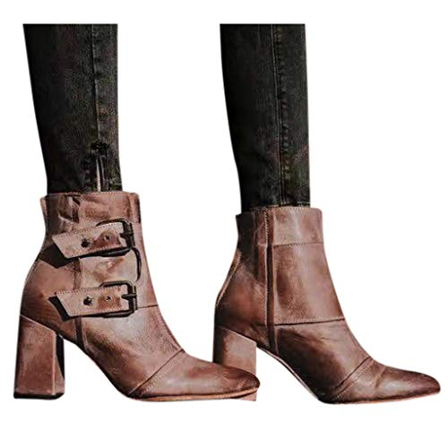 DNOQN Damen Lässige Schuhe Spitze Schnallenriemen Dicker Absatz Western Knight Booties Chelsea Boots Braun 37